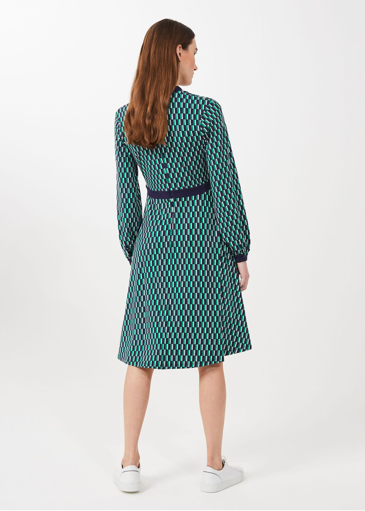 Samara Jersey Geo V Neck Dress, Green Multi, hi-res