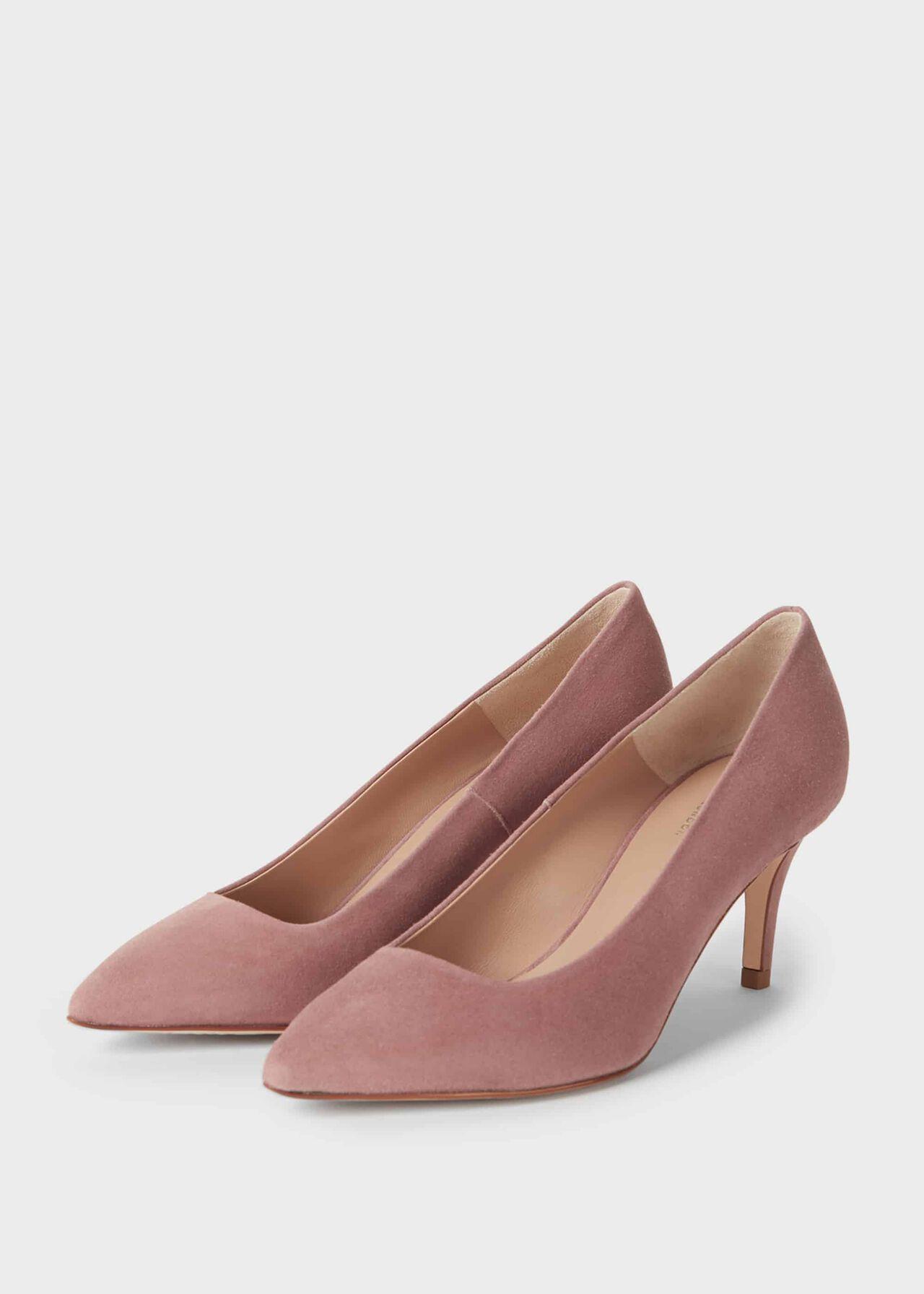 Elouise Suede Stiletto Court Shoes Dusky Pink