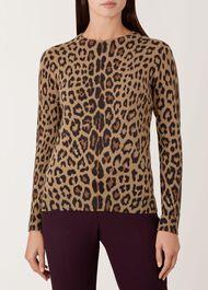 Hazel Merino Wool Sweater, Camel Multi, hi-res