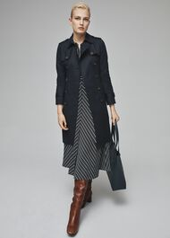 Petite Saskia Trench Coat, Navy, hi-res