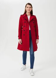 Saskia Water Resistant Trench Coat, Red, hi-res