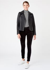Tamika Leather Jacket, Black, hi-res