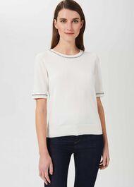 Madison Cotton Sweater, Ivory, hi-res