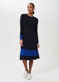Victoria Knitted Dress, Navy Azure Blue, hi-res