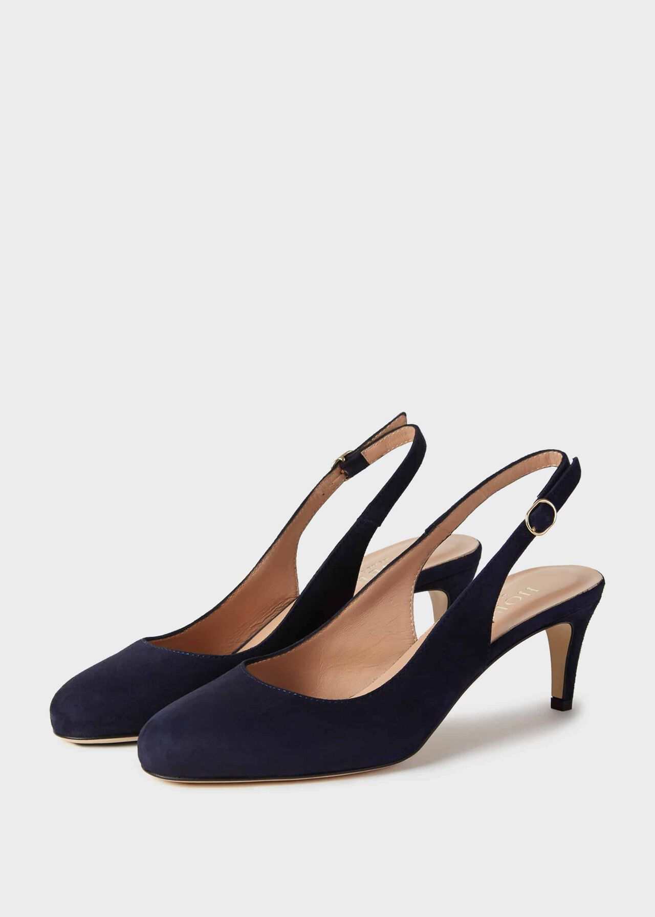 Emma Suede Stiletto Slingback Court Shoes Navy