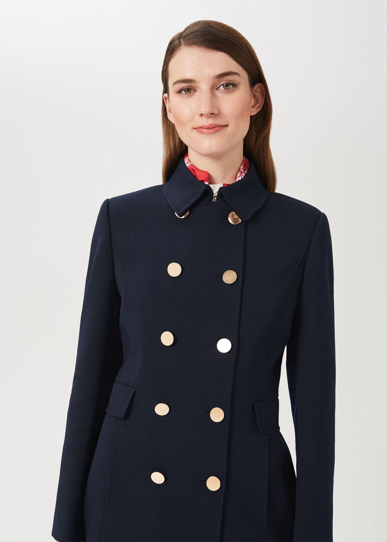 Cecelia Military Coat With Wool, Navy, hi-res