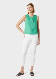 Ilona Linen V Neck Top, Paradise Green, hi-res