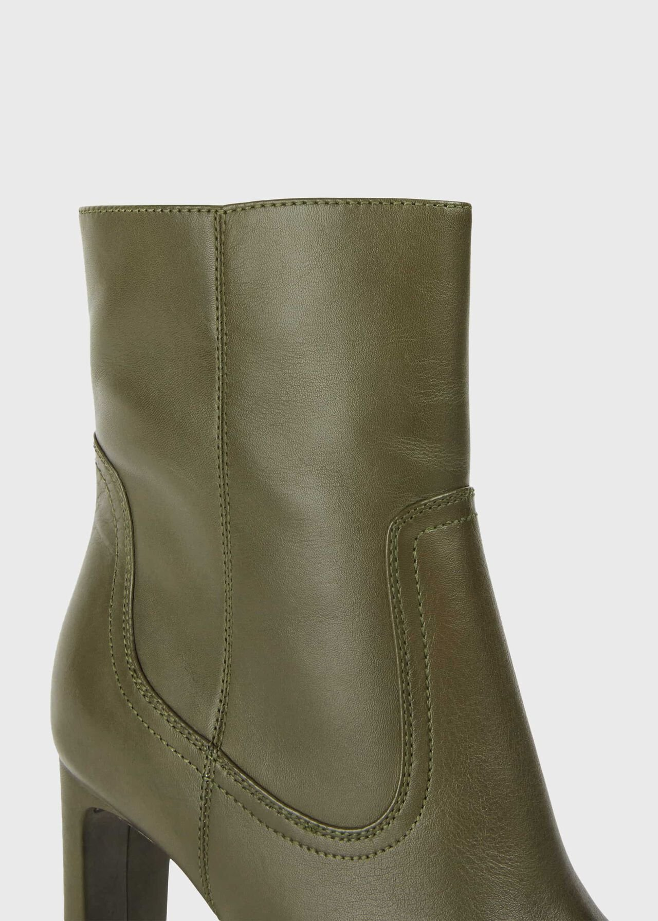 Fiona Leather Stiletto Ankle Boots, Olive, hi-res