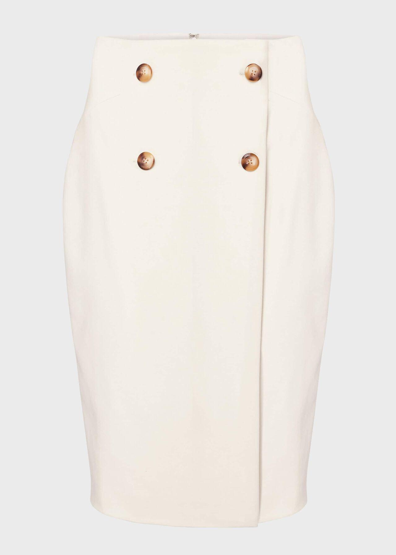 Jasmine Cotton Blend Pencil Skirt Warm Ivory