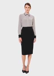 Eleanora Silk Shirt, Ivory Navy, hi-res