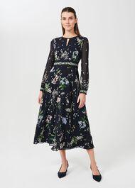 Skye Silk Floral Printed Dress, Navy Multi, hi-res