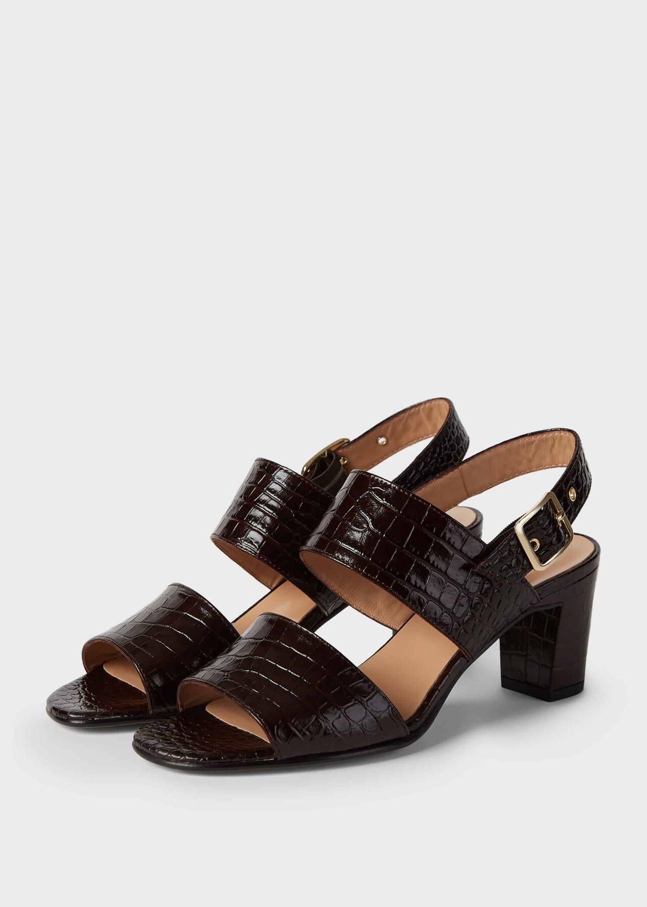 Katrina Crocodile Block Heel Sandals Chocolate