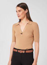 Eugenie Leather Belt, Tan, hi-res
