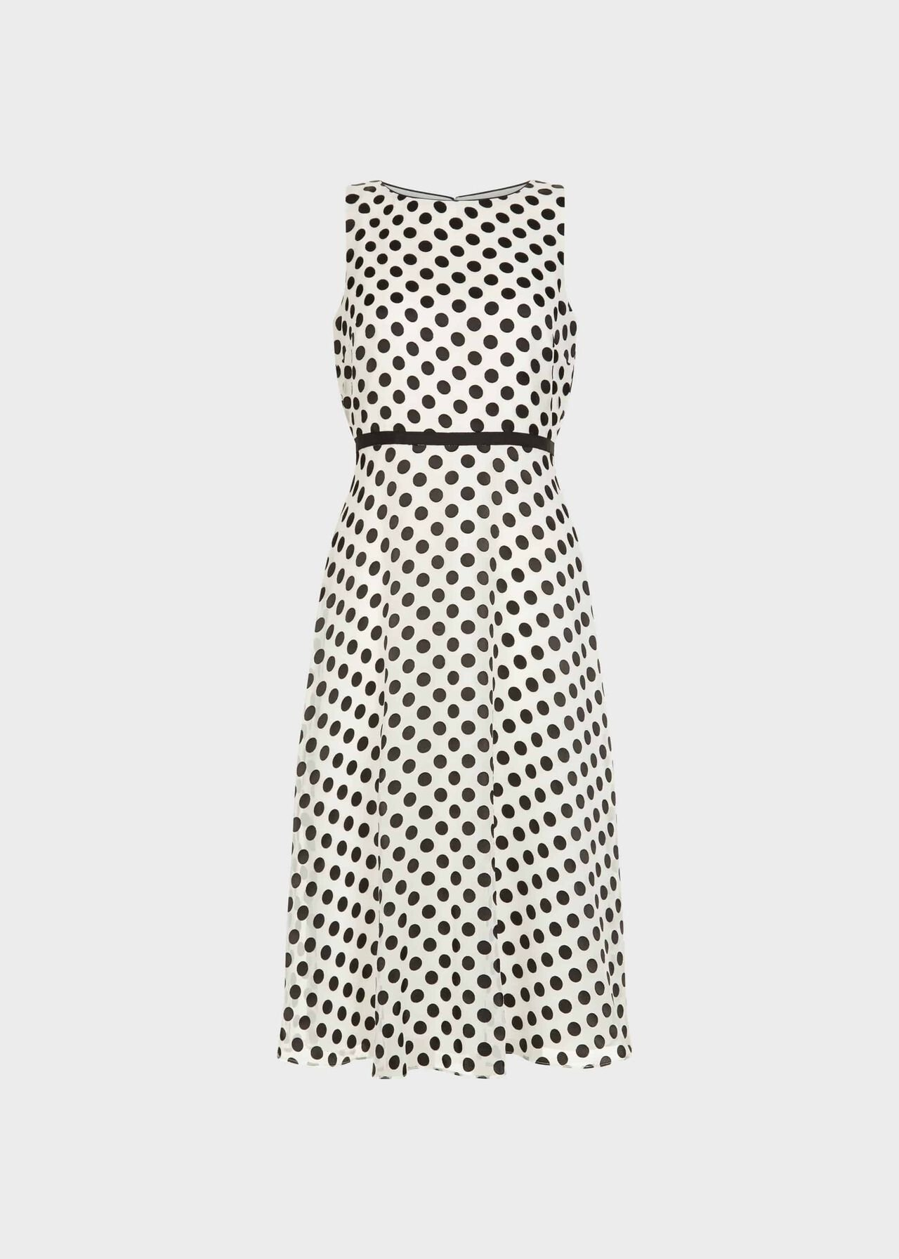 Adeline Jacquard Spot Dress Ivory Black