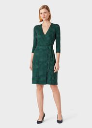 Delilah Jersey Wrap Dress, Navy Green, hi-res