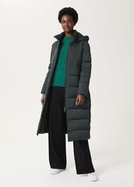 Kelly Puffer Jacket With Hood, Green, hi-res