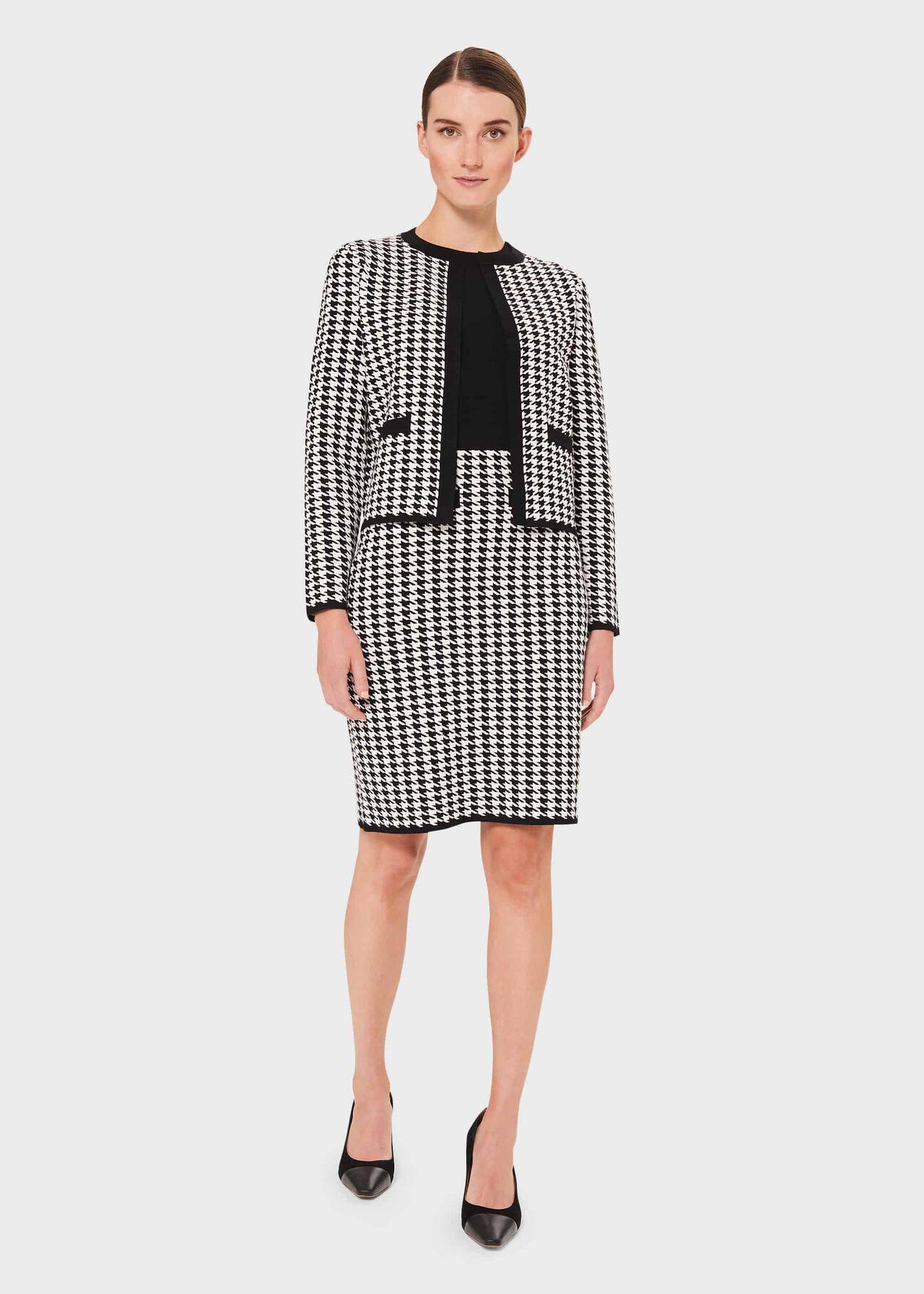 Alena Houndstooth Knitted Jacket, Black Ivory, hi-res