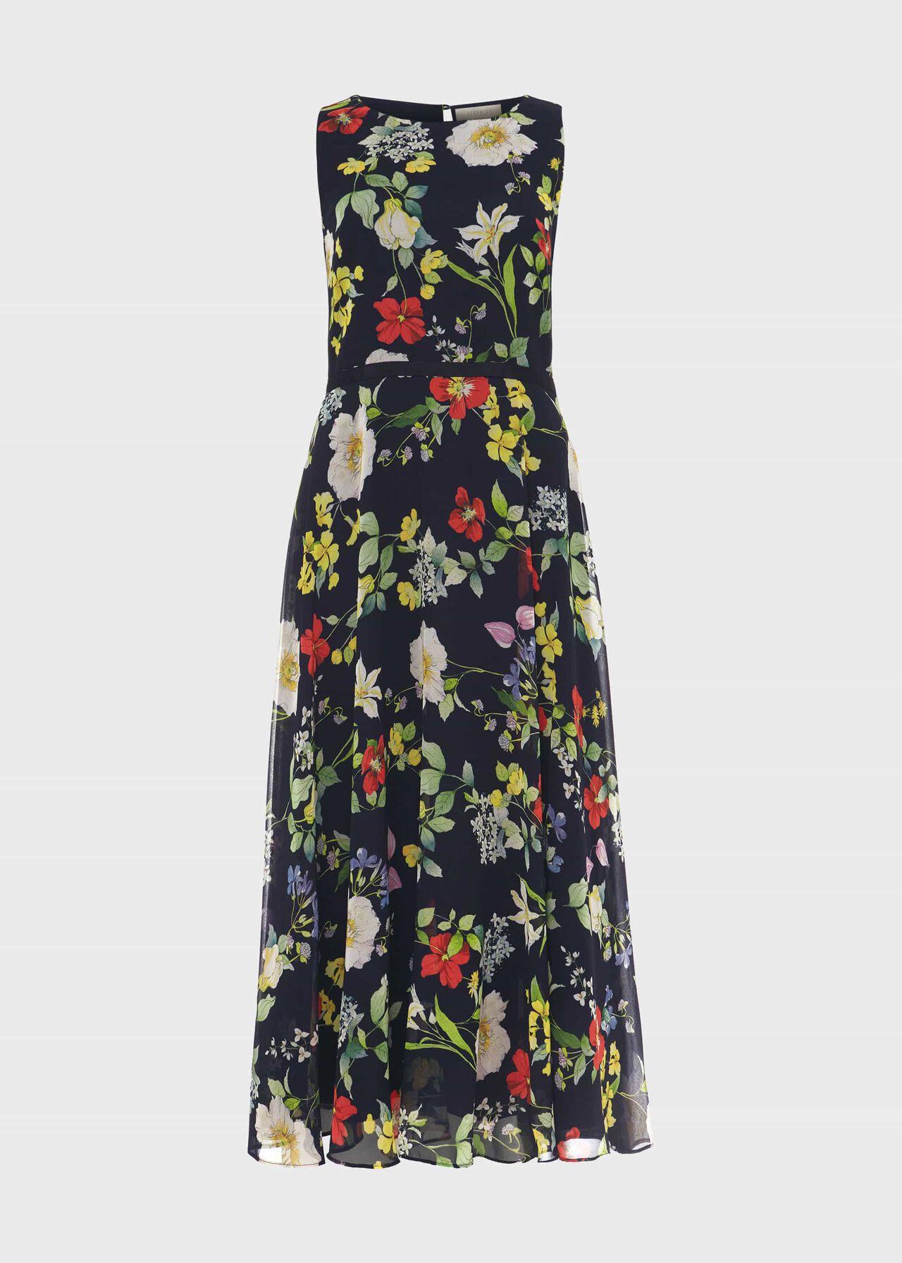 Carly Floral Midi Dress Midnight Multi