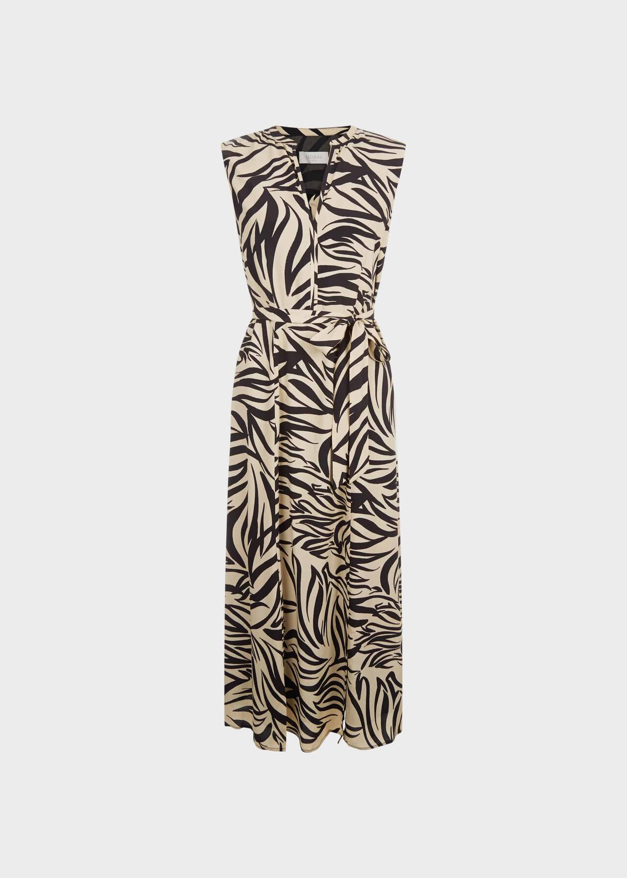 Shelly Printed Belted Dress Stone Black