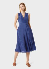 Regina Midi Dress With Silk, French Navy, hi-res