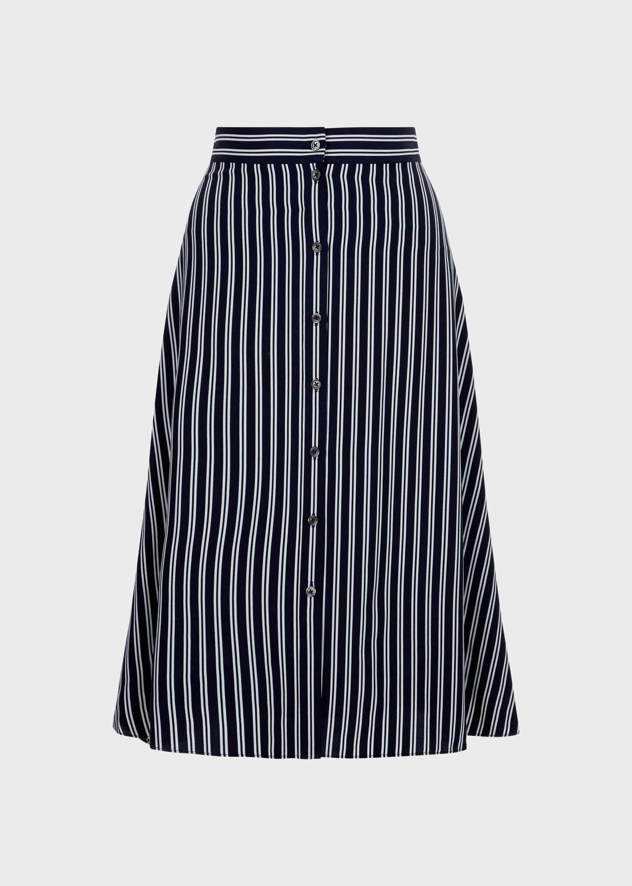 Monroe Stripe A Line Skirt, Navy Ivory, hi-res