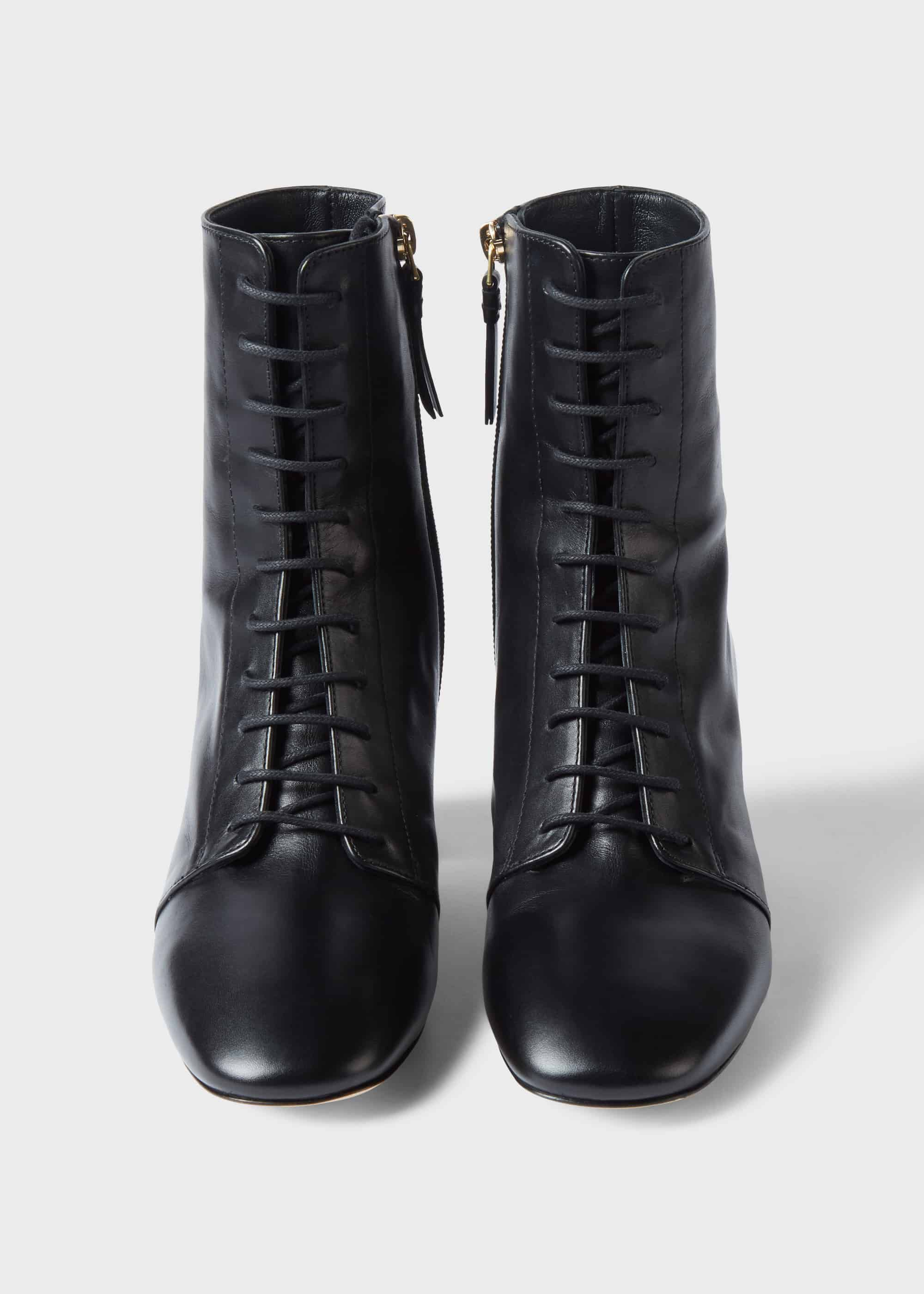 black block heel lace up ankle boots