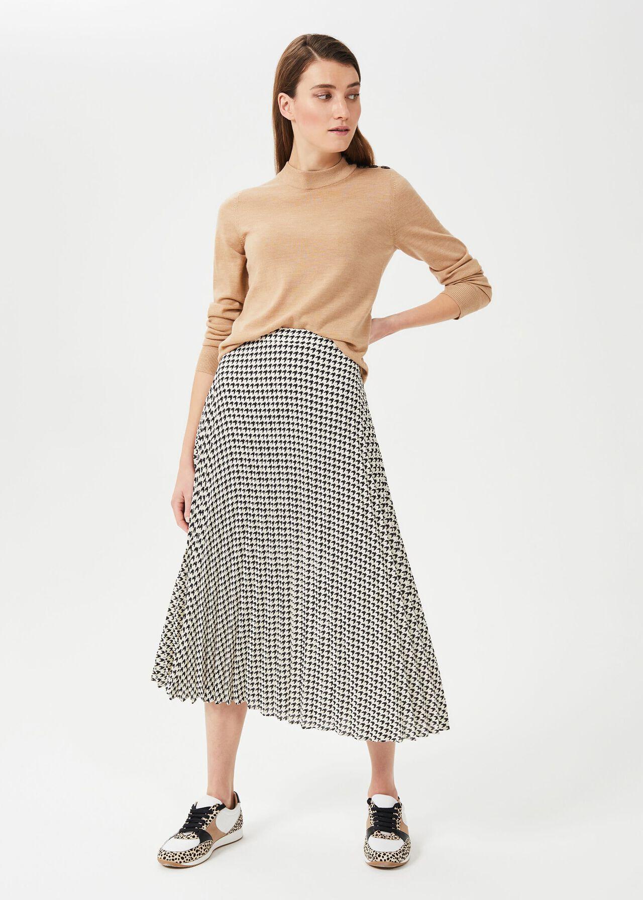 Evianna Dogtooth Pleated Skirt, Buttermilk Blk, hi-res