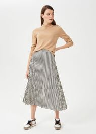 Evianna Dogtooth Pleated Skirt, Buttermilk Blk, hi-res