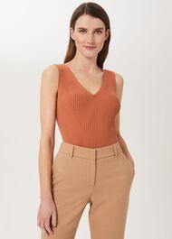 Lucille Knitted Vest, Brick Red, hi-res
