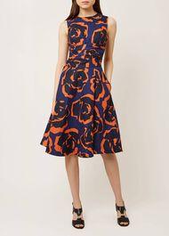 Twitchill Linen Dress, Navy Tangerine, hi-res