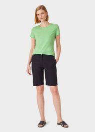 Pixie Cotton T-Shirt, Green Marl, hi-res