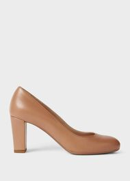 Sonia Leather Block Heel Court Shoes, Toasted Almond, hi-res