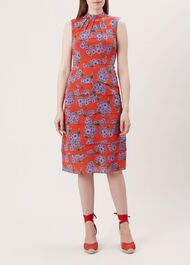 Polly Silk Dress, Red Multi, hi-res