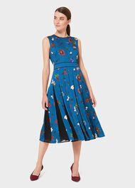 Beatrix Satin Floral Fit And Flare Dress, Kingfisher, hi-res