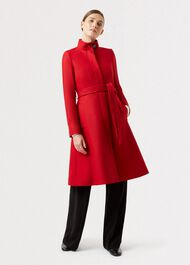 Helen Wool Blend Coat, Red, hi-res
