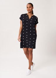 Cindy Spot Tunic Dress, Navy Ivory, hi-res