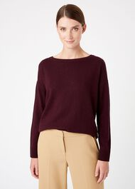 Dawn Wool Cashmere Sweater, Aubergine, hi-res
