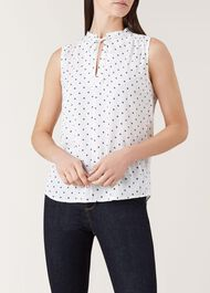 Kate Blouse, Ivory Navy, hi-res