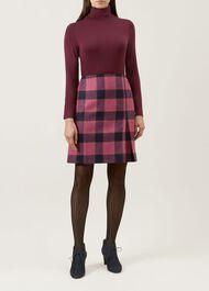 Avery Kick Pleat Wool Skirt, Pink Multi, hi-res