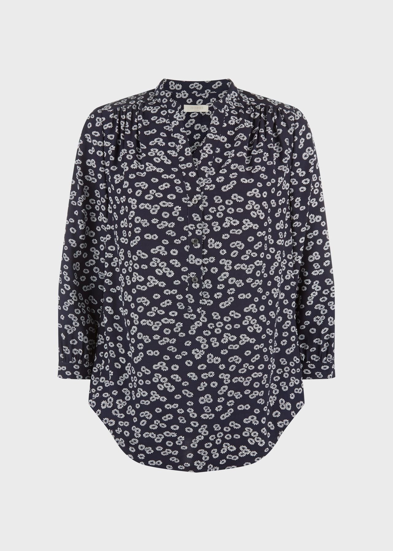 Rose Floral Blouse Navy Ivory
