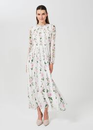 Rosabelle Silk Floral Dress, Ivory Multi, hi-res