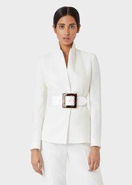 Olivia Leather Belt , White, hi-res