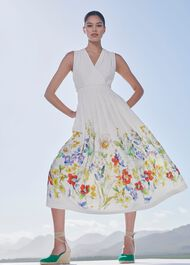 Summer Floral V Neck Midi Dress, Ivory Multi, hi-res