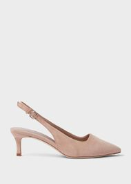 Kiera Suede Kitten Heel Slingbacks Court Shoes, Fawn Pink, hi-res