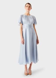 Mira Satin Fit And Flare Dress, Pale Blue, hi-res