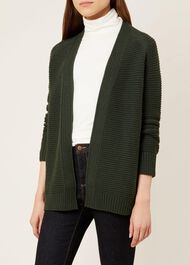 Louisa Cotton Cashmere Cardigan, Forest Green, hi-res