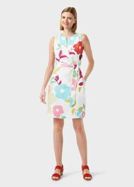 Daria Linen Floral Shift Dress, White Multi, hi-res