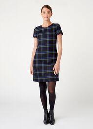 Riley Wool Dress, Navy Green, hi-res