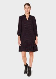 Erin Spot Dress, Navy Merlot, hi-res