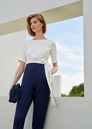 Petite Julianna Colourblock Jumpsuit, Midnight Ivory, hi-res